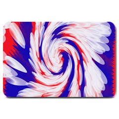 Groovy Red White Blue Swirl Large Doormat