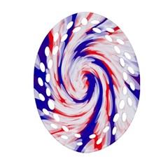 Groovy Red White Blue Swirl Oval Filigree Ornament (2 Side)