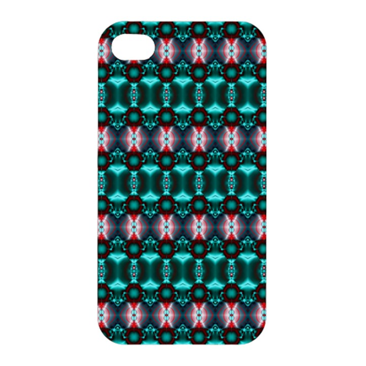 Fancy Teal Red Pattern Apple iPhone 4/4S Premium Hardshell Case