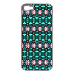 Fancy Teal Red Pattern Apple iPhone 5 Case (Silver)