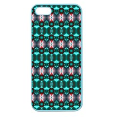Fancy Teal Red Pattern Apple Seamless iPhone 5 Case (Color)