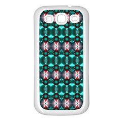 Fancy Teal Red Pattern Samsung Galaxy S3 Back Case (White)