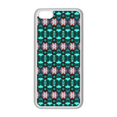 Fancy Teal Red Pattern Apple iPhone 5C Seamless Case (White)