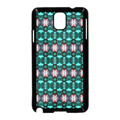 Fancy Teal Red Pattern Samsung Galaxy Note 3 Neo Hardshell Case (Black)