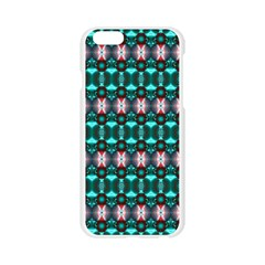 Fancy Teal Red Pattern Apple Seamless iPhone 6/6S Case (Transparent)