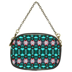 Fancy Teal Red Pattern Chain Purses (Two Sides)