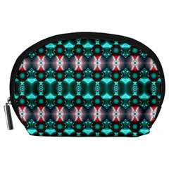Fancy Teal Red Pattern Accessory Pouches (Large)