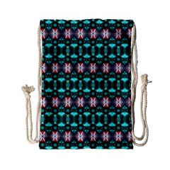 Fancy Teal Red Pattern Drawstring Bag (Small)