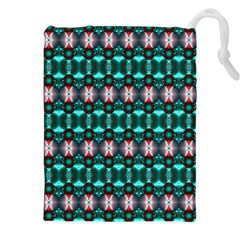 Fancy Teal Red Pattern Drawstring Pouches (xxl)