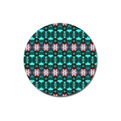Fancy Teal Red Pattern Magnet 3  (Round)