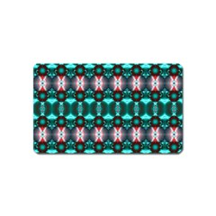Fancy Teal Red Pattern Magnet (Name Card)