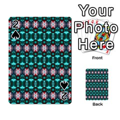 Fancy Teal Red Pattern Playing Cards 54 Designs