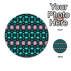 Fancy Teal Red Pattern Multi Purpose Cards (round)