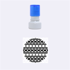 Fancy Teal Red Pattern Rubber Round Stamps (Small)