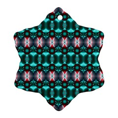 Fancy Teal Red Pattern Ornament (Snowflake)