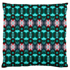 Fancy Teal Red Pattern Large Cushion Case (One Side)