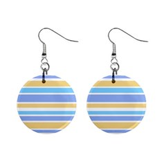 Blue Yellow Stripes Mini Button Earrings