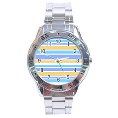 Blue Yellow Stripes Stainless Steel Analogue Watch
