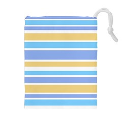 Blue Yellow Stripes Drawstring Pouches (extra Large)
