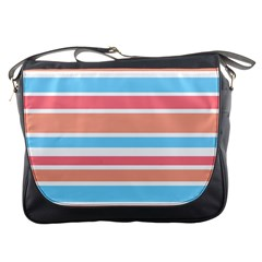 Orange Blue Stripes Messenger Bags