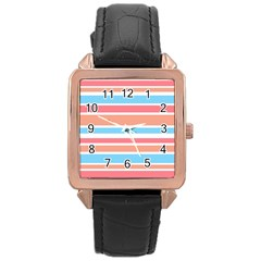 Orange Blue Stripes Rose Gold Leather Watch