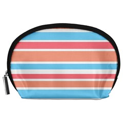 Orange Blue Stripes Accessory Pouches (Large)