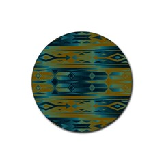Blue Green Gradient Shapes                                       			rubber Coaster (round)