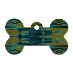 Blue green gradient shapes                                       			Dog Tag Bone (One Side)