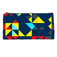 Colorful shapes on a blue background                                        	Pencil Case