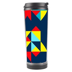 Colorful shapes on a blue background                                        Travel Tumbler