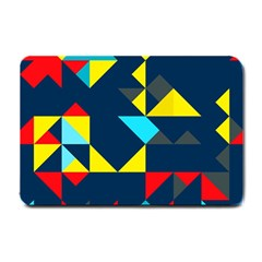 Colorful shapes on a blue background                                        			Small Doormat