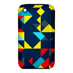 Colorful shapes on a blue background                                        Apple iPhone 3G/3GS Hardshell Case (PC+Silicone)