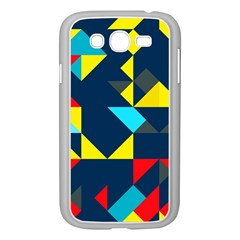 Colorful shapes on a blue background                                        Samsung Galaxy Grand DUOS I9082 Case (White)