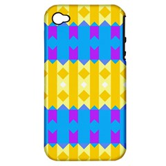 Rhombus and other shapes pattern                                          			Apple iPhone 4/4S Hardshell Case (PC+Silicone)