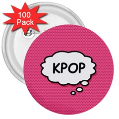 Comic Book Think Kpop Pink 3  Buttons (100 pack)