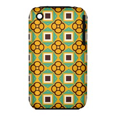 Flowers And Squares Pattern                                            apple Iphone 3g/3gs Hardshell Case (pc+silicone)