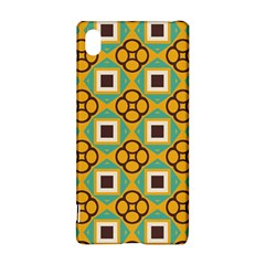 Flowers and squares pattern                                            			Sony Xperia Z3+ Hardshell Case