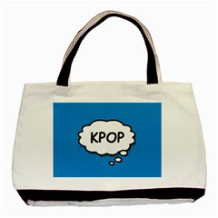 Comic Book Kpop Blue Basic Tote Bag (Two Sides)