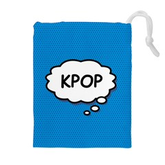 Comic Book Kpop Blue Drawstring Pouches (Extra Large)