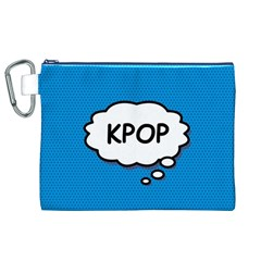 Comic Book Kpop Blue Canvas Cosmetic Bag (XL)