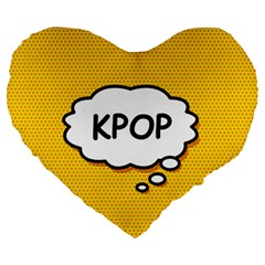 Comic Book Kpop Orange Large 19  Premium Flano Heart Shape Cushions