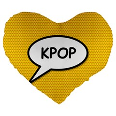 Comic Book Shout Kpop Orange Large 19  Premium Heart Shape Cushions