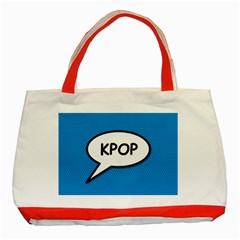 Comic Book Shout Kpop (Blue) Classic Tote Bag (Red)