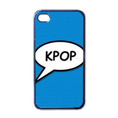 Comic Book Shout Kpop (Blue) Apple iPhone 4 Case (Black)