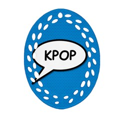 Comic Book Shout Kpop (Blue) Oval Filigree Ornament (2-Side)