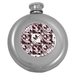 Ornate Modern Floral Round Hip Flask (5 oz)