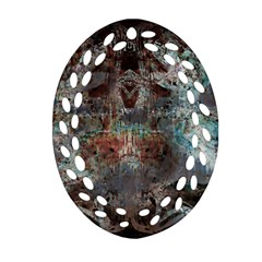 Metallic Copper Patina Urban Grunge Texture Oval Filigree Ornament (two Sides)