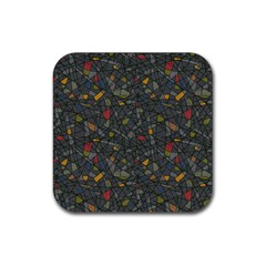 Abstract Reg Rubber Square Coaster (4 pack)