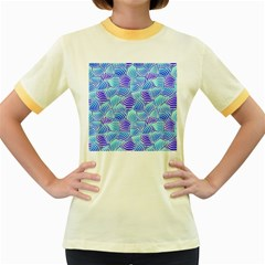 Blue And Purple Glowing Women s Fitted Ringer T-Shirts