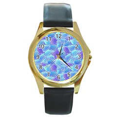 Blue And Purple Glowing Round Gold Metal Watch